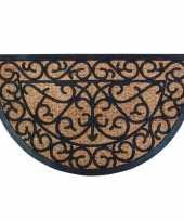 2x deurmatten kokos halfrond met klassiek patroon 75 x 45 cm