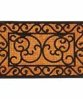 2x deurmatten kokos rechthoekig met klassiek patroon 60 x 40 cm