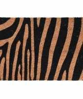 2x dieren thema deurmatten buitenmatten kokos tijger zebra strepen 39 x 59 cm