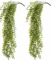 2x kantoor uv kunstplanten groene ficus hangplant tak 80 cm
