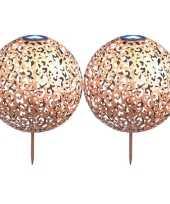 2x koperen solarlampen bollen ballen op zonne energie 28 5 cm