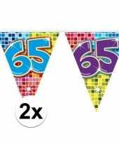 2x mini vlaggenlijn feestversiering met leeftijd 65
