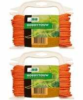2x oranje touw voor buiten gebruik 20 meter