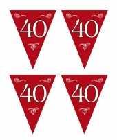 2x stuks 40 jaar jubileum vlaggenlijnen slingers 10 meter