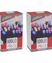 2x stuks gekleurde budget boomverlichting binnen en buiten 100 lampjes