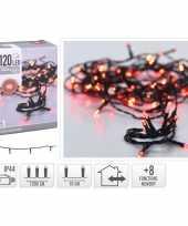 2x stuks kerstverlichting feestverlichting lichtsnoeren 120 rode led lampjes buiten 12 meter