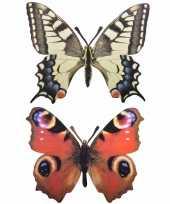 2x stuks metalen wand muur decoratie vlinders 25 x 20 cm
