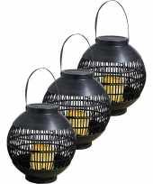 3x buiten tuin zwarte rotan lampionnen hanglantaarns 20 cm solar tuinverlichting