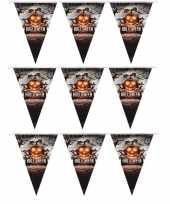3x halloween decoratie vlaggenlijn pompoenen 250 cm