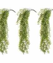 3x kantoor uv kunstplanten groene ficus hangplant tak 80 cm