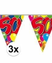 3x slingers 50 jaar buiten vlaggetjes 10 meter