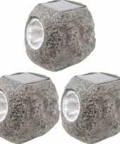 3x solarlamp steen op zonne energie 10 cm met koel witte verlichting