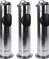 3x staande asbakken met afvalbakje en deksel zilver 60 cm