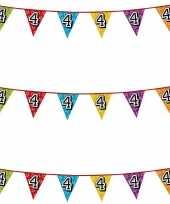 3x stuks vlaggenlijnen glitters 4 jaar thema feestartikelen