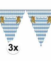 3x vlaggenlijnen blauw met wit geblokt