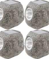 4x solarlamp steen op zonne energie 10 cm met koel witte verlichting