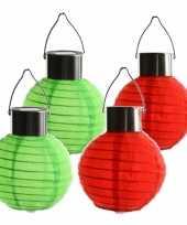 4x stuks gekleurde buiten tuin party solar lampionnen van 10 cm 10272781