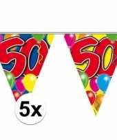 5x slingers 50 jaar buiten vlaggetjes 10 meter