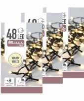 6x kerstverlichting op batterij warm wit buiten 48 lampjes