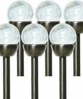 6x solarlamp navi bol op zonne energie 24 cm transparant met rvs steker
