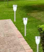 6x solarlamp op zonne energie 36 cm met zilveren steker