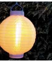 9x stuks luxe solar lampion lampionnen wit met realistisch vlameffect 20 cm
