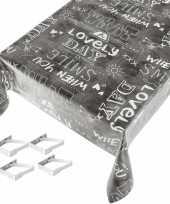 Antraciet grijs tuin tafellaken voor buiten tekst print 140 x 245 cm pvc kunststof met aluminium kle