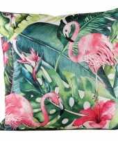 Bank sier kussens met flamingo bloemenprint voor binnen en buiten 45 x 45 cm