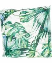 Bank sier kussens met monstera plant bladeren print voor binnen en buiten 45 x 45 cm