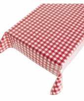 Blauw tafellaken met rode ruitjes 140 x 170 cm
