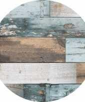 Blauw tuin tafellaken voor buiten hout print 160 cm pvc kunststof