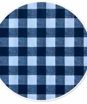 Blauw tuin tafellaken voor buiten ruitjes print 160 cm pvc kunststof