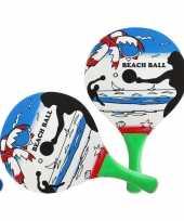 Blauwe beachball set met strandprint buitenspeelgoed
