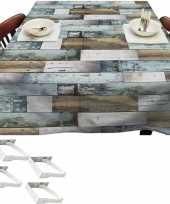 Blauwe tuin tafellaken voor buiten houten planken 140 x 250 cm pvc kunststof met aluminium klemmen