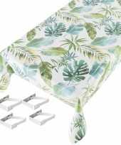 Botanische print tuin tafellaken voor buiten 140 x 245 cm pvc kunststof met aluminium klemmen