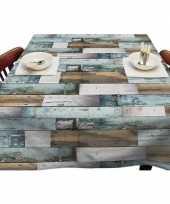 Bruin blauw tuin tafellaken voor buiten steigerhouten planken print 140 x 250 cm pvc kunststof