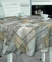 Bruin grijs tuin tafellaken voor buiten houten plankjes print 160 cm pvc kunststof