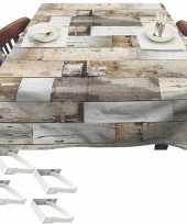 Bruine tuin tafellaken voor buiten houten planken 140 x 250 cm pvc kunststof met aluminium klemmen