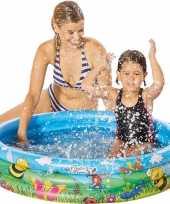 Buitenspeelgoed zwembaden blauw bloemen rond 100 x 23 cm voor jongens meisjes kinderen
