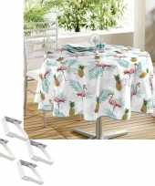 Flamingo print tuin tafellaken voor buiten 160 cm rond pvc textiel met aluminium klemmen