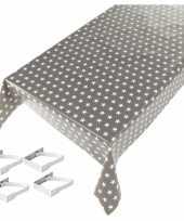 Grijs tuin tafellaken voor buiten sterren print 140 x 240 cm pvc kunststof met aluminium klemmen