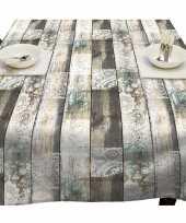 Houten planken met kant tuin tafellaken voor buiten 140 x 250 cm pvc kunststof