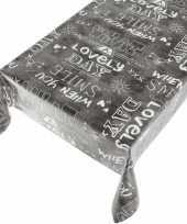 Kerstsfeer antraciet tafellaken vrolijke tekst print 140 x 240 cm