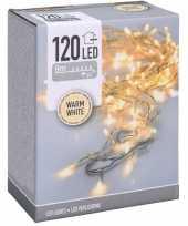 Kerstverlichting transparant snoer met 120 warm witte lampjes 9 meter buiten