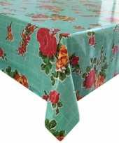 Mint groen tuin tafellaken voor buiten rozen bloemen print 120 x 200 cm pvc kunststof