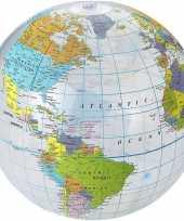 Opblaasbare bal wereldbol aarde 25 cm buitenspeelgoed