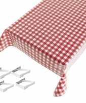Rood tuin tafellaken voor buiten ruiten print 140 x 170 cm pvc kunststof met aluminium klemmen