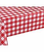 Rood tuin tafellaken voor buiten ruitjes print 140 x 250 cm pvc kunststof