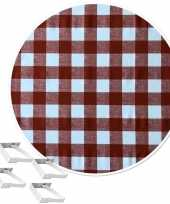 Rood tuin tafellaken voor buiten witte ruiten 160 cm rond pvc textiel met aluminium klemmen