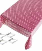 Roze tuin tafellaken voor buiten polkadot print 140 x 170 cm pvc kunststof met aluminium klemmen